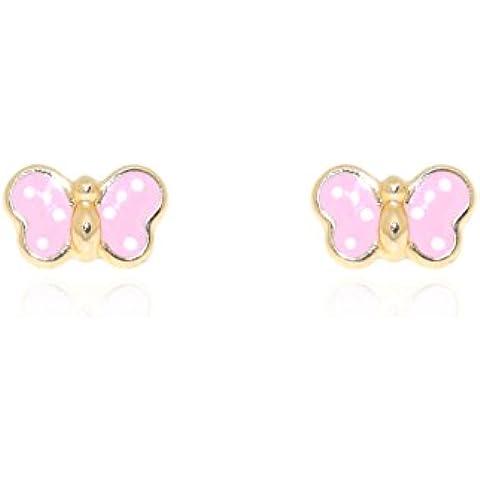 Orecchini per bambini farfalla rosa - oro giallo 9k (375)