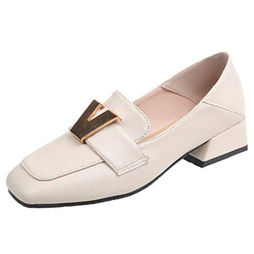 Dasongff Frauen Quadratische Kopf Einzelne Schuhe Flache Damenschuhe Flachen Mund Kleine Abendschuhe Blockabsatz Sommerschuhe