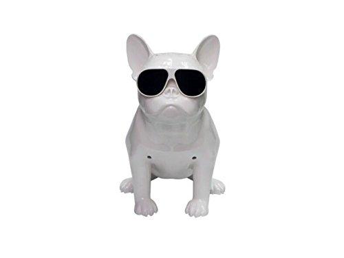 QAS Volle Körper Bulldog Audio Hundekopf Bluetooth Lautsprecher Subwoofer,Weiß,209x132x216mm