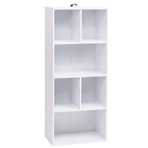 WOLTU Bücherregal SK005ws Bücherschrank Standregal Aufbewahrungregal Raumteiler Büroregal Aktenschrank, MDF, 6 Fächer, 50x30x118cm