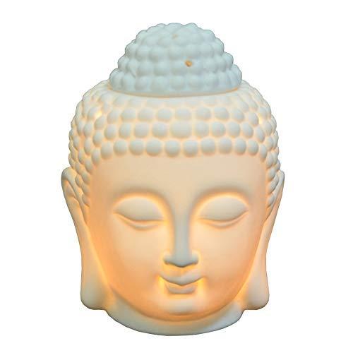Moylor Chauffe-huile en céramique en forme de tête de Bouddha,  translucide, diffuseurs d'aromathérapie pour cadeaux de la fête des pères et décoration intérieure (blanc et noir)