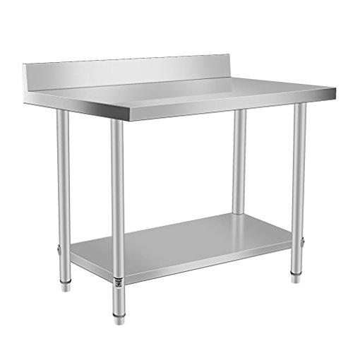 Blackpoolal Arbeitstisch Edelstahl Garten Küche Gastro Tisch Edelstahltisch Küchentisch Arbeitstisch Anrichte Silber (120 x 60 x 95CM)