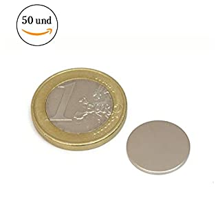 50 pieces of neodymium magnet - 15 mm in diameter x 1 mm in thickness - attractive force of 0.8 Kg - 1300 gauss