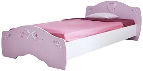 Demeyere Papillon » lit Enfant Fille Rose Orchidée/Blanc 90x190 cm Extensible 90x200cm, Panneau de Particules/MDF