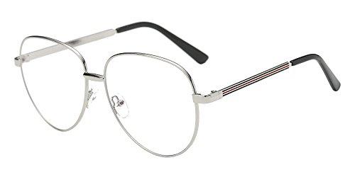 BOZEVON Klare Linse Transparente Gläser - Runde Ultradünne Metallrahmen Lesebrille Dekor Retro Brillen Brillen Für Männer Frauen Silber (Aviator 2)