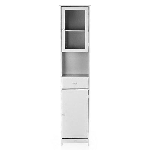 Ikayaa modern tower armadietto alto con ante e cassetti armadio a pavimento in legno mobili per la casa, 40 x 28 x 180 cm, bianco