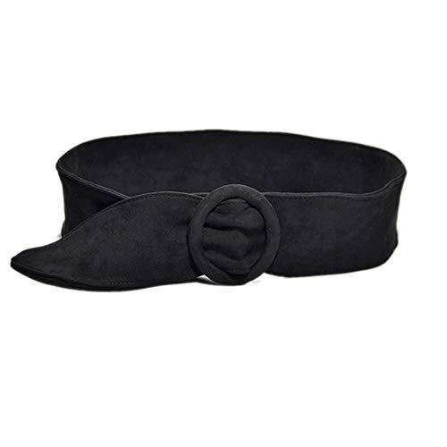 Cintura donna retrò in cotone elastico in velluto casual Cintura moda in morbido nastro doppia fibbia, nero, 50-90cm