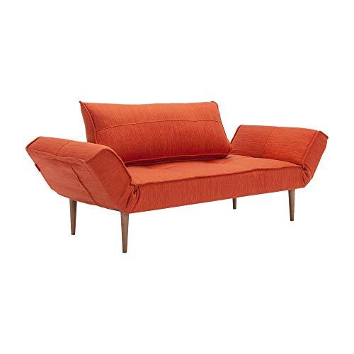 Innovation Zeal Styletto Schlafsofa 180x70cm, Paprika Stoff 506 Elegance Paprika BxHxT 178-200x81x70cm Beine Holz dunkel