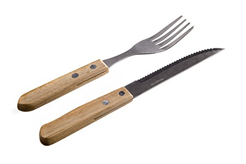 Banquet 12 Piece Steak Knife and Fork Set Wooden Handles, Stainless Steel, Natural, 25 x 31.2 x 1.6 cm