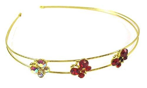 Gold ton rot Schmetterling Stein Kopfband Haar Haarreif Tiara Hochzeit Brautschmuck Zubehör