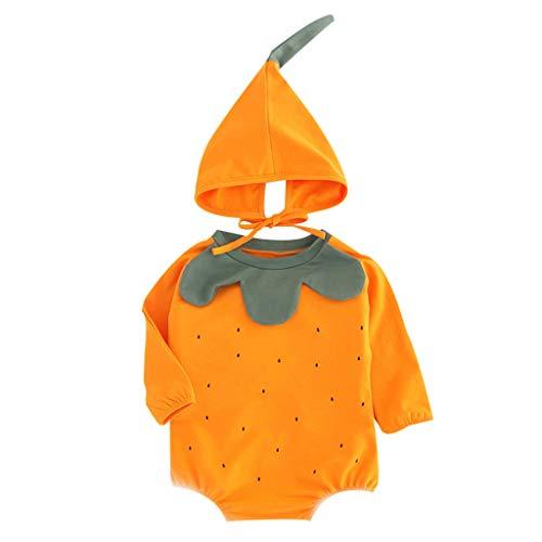 Livoral Baby-Frühlingsklage Junge Mädchen Junge Kürbis Body Druck Coveralls Kappe Anzug(Orange,9-12 Monate)