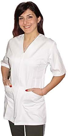 Petersabitidalavoro Camice da Lavoro Donna con Zip Estetista Parrucchiera Cuoca OSS Infermiera Dentista (XS, Bianco)