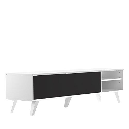 Symbiosis 3170A2176A01 Meuble TV Pieds Inclines avec 1 Abattant Bois Blanc/Noir 165 x 43,2 x 40 cm