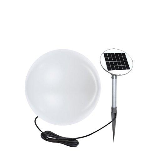 8 seasons design | LED Gartenleuchte Solar Kugel Shining Globe (Ø 30 cm, warmweiß, Lichtsensor, Einschaltautomatik, IP44, Kugelleuchte für außen) weiß