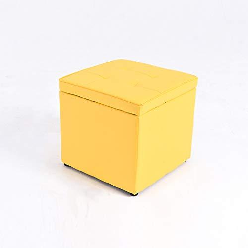 Pouf de rangement en cuir avec couvercle à charnière Repose-pieds en forme de cube Repose-pieds Bois Simple Maison moderne Salon Chambre à coucher Table basse Dressing Canapé Tabouret