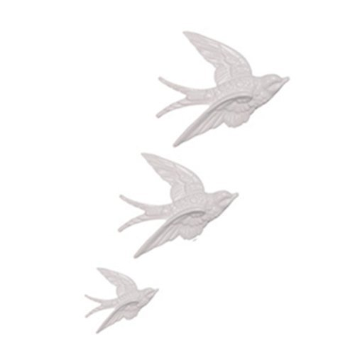 Ceramic Swallows, Set of 3 (White)