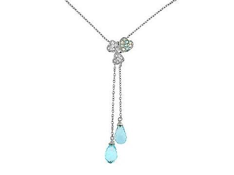 9ct White Gold Blue Topaz & 0.090Ct Diamond Hearts & Briolette Drops Necklace