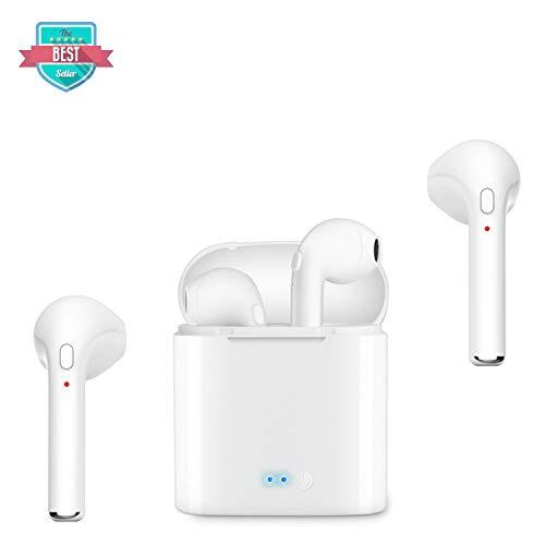 OUYAeu Cuffie Wireless in-Ear,Cuffie Bluetooth Senza Fili Mini TWS,Stereo, a Prova di Sudore Auricolari Sportivi con Microfono Integrato e cancellazione del Rumore
