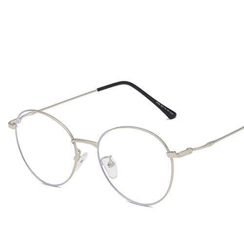 GSAYDNEE Anti-Blaue Brillen-Trend-Retro-Brille des runden Metallrahmens für Frauenmänner gegen Blaue helle Gläser (Color : Silver)