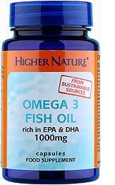 Higher Nature, Huile de poisson Oméga 3, 1000mg, 30 Gélules