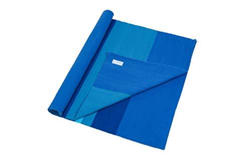 Blue Dove Yogamatte, handgewebt, Bio-Baumwolle - Aqua Stripe -
