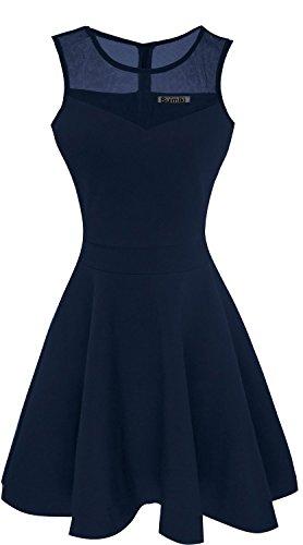 Suimiki Damen ärmellos Rundausschnitt falten A-linie Partykleid mini Cocktailkleid kurz Festliche Kleid-NBL