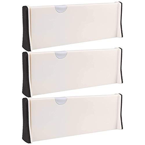 3 x ausziehbare Schubladenteiler, A+, ausgewählte verstellbare tiefe Schubladen-Organizer-Set, geeignet für Küche, Badezimmer, Schlafzimmer, Büro und Kommode, Weiß (3 Stück) -