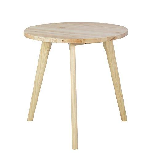 garten glastisch rund Homestyle4u 1816, Beistelltisch Holz, Dreibeiner Farbe Natur, Durchmesser 45 cm, Kiefer