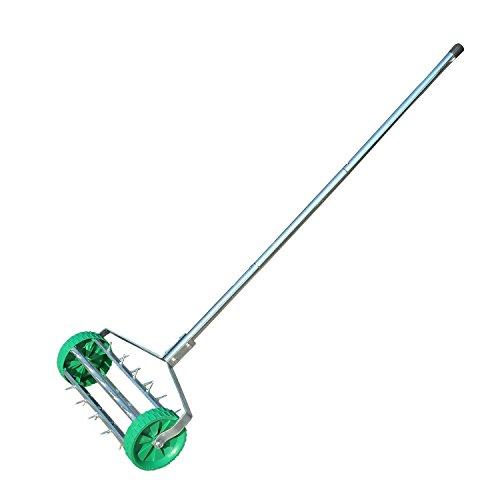 Outsunny, Rasenbelüfter, Strapazierfähiger Gras-Stahlroller mit verstellbarem Griff.