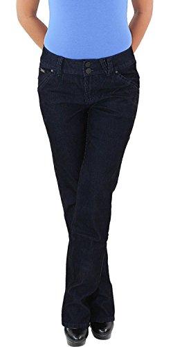 Damen Cordhose Hüft Stretch Hose Gerader Schnitt Straight Leg Gerades Bein Blau 46