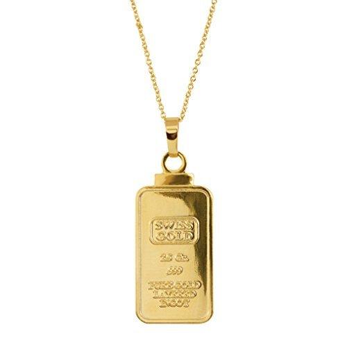 2,5Gramm Swiss Barren Replica Anhänger Layered in 24kt Gold