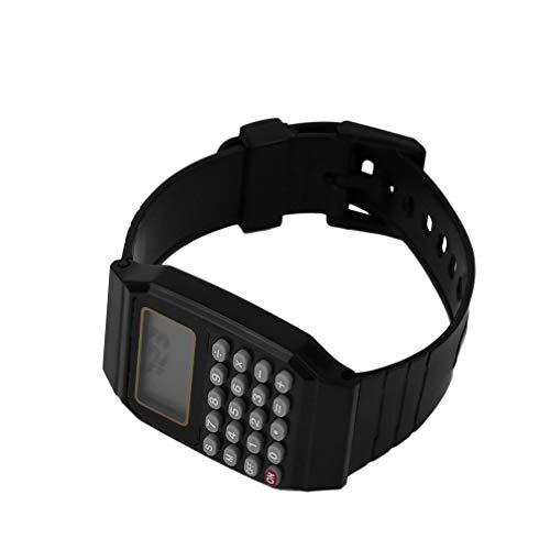 LeoboosePractical Niños Estudiantes Calculadora Reloj Digital Color Sólido Silicona Cómoda Calculadora...