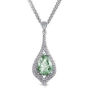 2.13 Ct Green Amethyst & Diamond Pendant Pear Shaped 14k Gold