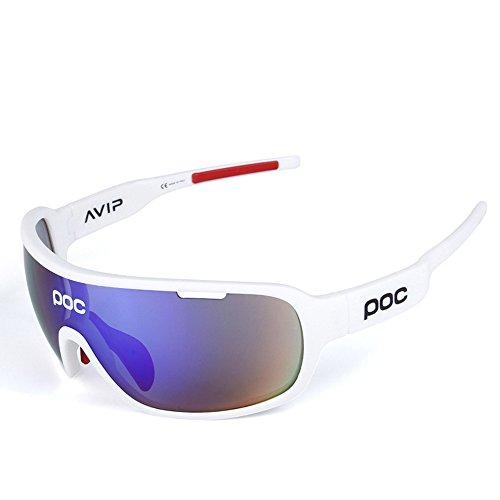Occhiali da sole sportivi, anti-uv 400 protezione ciclismo occhiali da sole con 5 lenti intercambiabili,uomo e donna antivento aviatore specchio per mtb,bici,moto,trekking casual,d