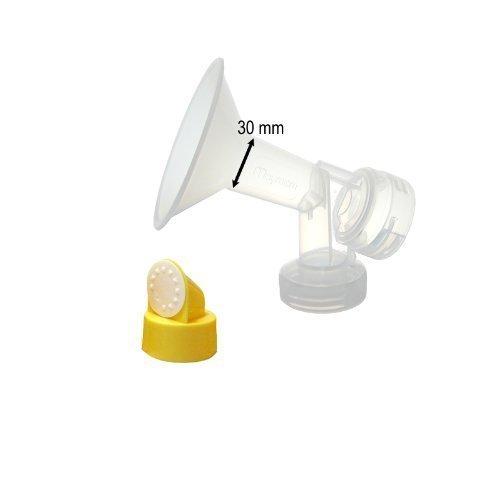 30 mm One-Piece Extra Large Brusthaube w / Ventil und Membran für Medela Milchpumpen; Vergleichen Medela 30 mm (X-Large) Personal Fit Brustschild und PerosnalFit Connector; Hergestellt von Maymom.
