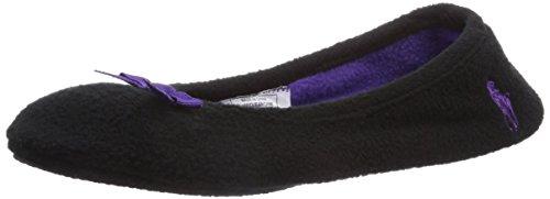 Polo Ralph Lauren Damen Women's Bayley Ballet Flache Hausschuhe Schwarz (Black Fleece w Purple) 36 EU (Ralph Lauren Polo Hausschuhe)