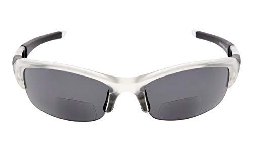 Eyekepper TR90 Unzerbrechliche Sportarten Polykarbonat Halbkugelförmige polarisierte Bifokal Sonnenbrillen Baseball Running Angeln Fahren Golf Softball Wandern Lesung Brille Clear Frame Grey Lens +1.5