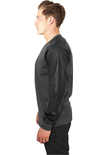 Urban Classics Herren Pullover Raglan Leather Imitation Crew Grau