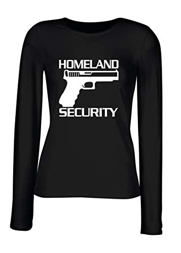 T-Shirt para Las Mujeres Manga Larga Negra FUN1848 Homeland Security