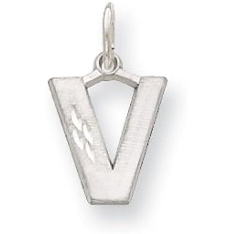 Icecarats Designer Di Gioielli In Oro 14K Bianco Satinato Solido Diamante Taglio Iniziale V Fascino