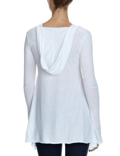 Bobi Damen Langarmshirt 525-07033, V-Ausschnitt Weiß (White)