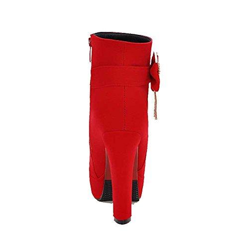 AllhqFashion Damen Hoher Absatz Niedrig-Spitze Eingelegt Reißverschluss Stiefel Rot