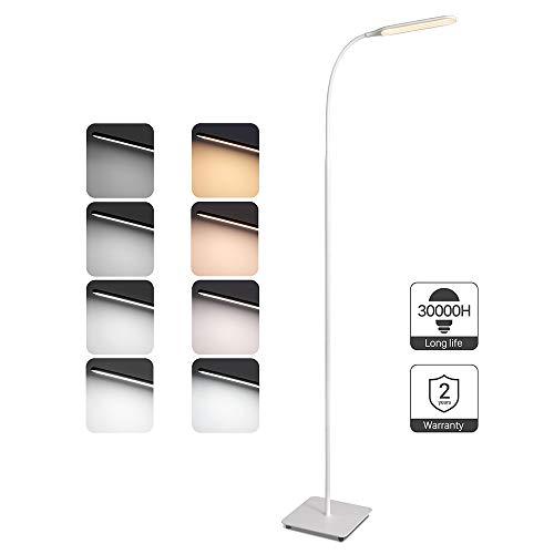 TaoTronics Stehlampe LED Dimmbar 10W 4 Farbmodi 5 Helligkeitsstufen Modern Bodenlampe zum Lesen und Arbeiten Flexibler Schwanenhals Toll für Wohnzimmer Arbeitszimmer Schlafzimmer -