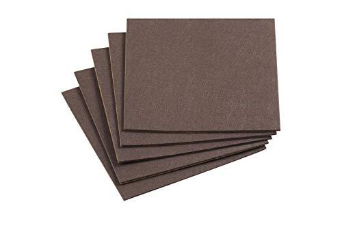 Metafranc Filz-Gleiter 200 x 200 mm - selbstklebend - braun - 5 Stück - Effektiver Schutz Ihrer Möbel & Stühle / Möbelgleiter-Set für empfindliche Böden / Stuhlgleiter / Filz-Zuschnitt / 645526
