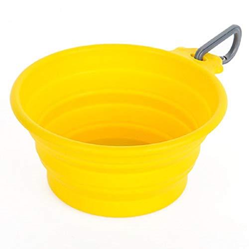 ZYBGW Schüssel, Hundewasserschüssel Silikon Faltbare Schüssel Mit Deckel Erweiterbar Frischhaltedose for Outdoor Camping Travel Wandern Und Indoor (Color : Yellow)
