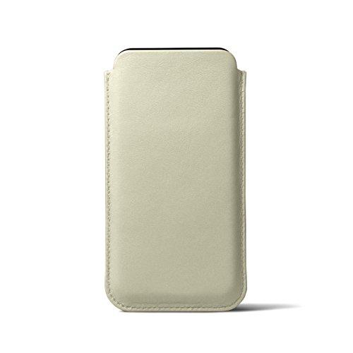 Lucrin - Klassische Schutzhülle für iPhone X - Schwarz - Glattleder Gebrochen Weiß