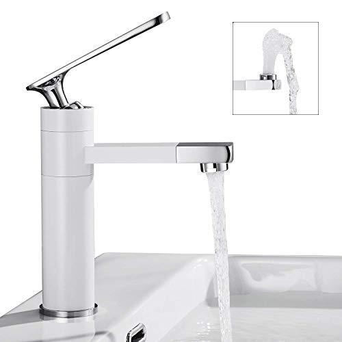 BONADE Weiß Wasserhahn Bad 360° Drehbarer Auslauf Waschtischarmatur mit chrom Griff Einhebel Mischbatterie Badarmatur Waschtischmischer Mischer Armatur für Badezimmer Waschbecken