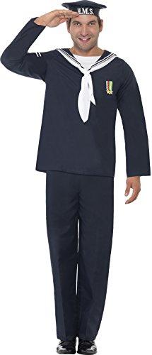 Smiffy's - Costume da marinaio, Uomo, incl. cappello, maglia e pantaloni, colore: Blu, M