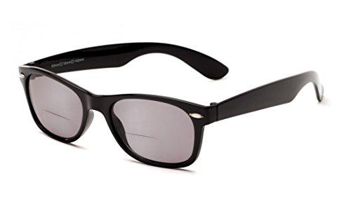 +1.75 Bifokal Sonnen Lesebrille Schawrz Sonnenbrille 100% UV-Schutz Leicht Getönte Gläser Männer Frauen Retro Vintage Zeitlos Fall & Stoff