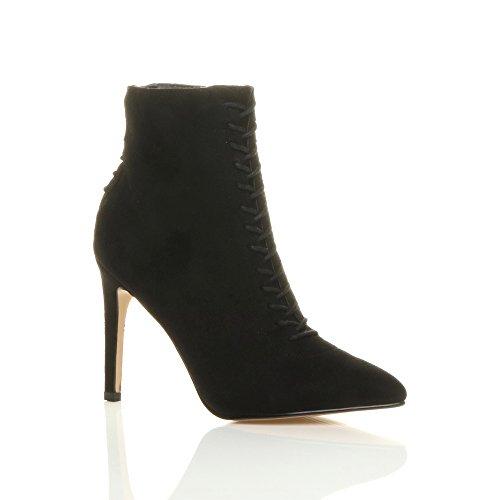 talon pointure Daim bottes noir corset pointues retour haut bottines lacer Femmes 8xzqdSwPd